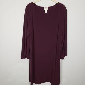 Chico's flutter sleeve dress burgundy 3X